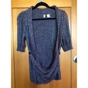 Moth Purple & Silver Knit Asymmetric Cardigan